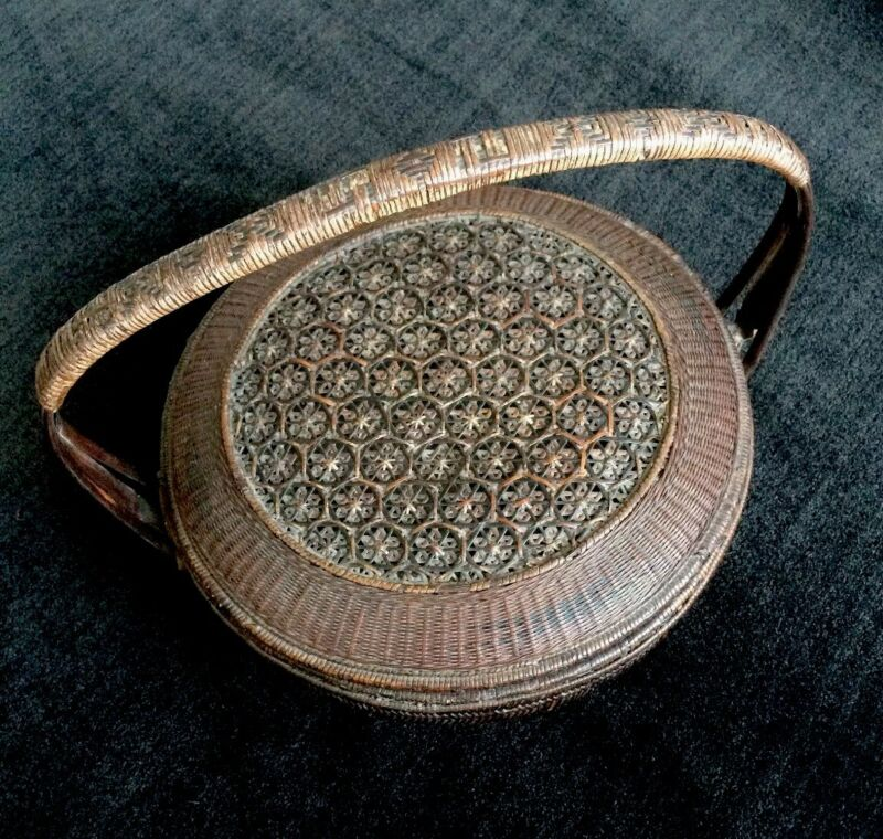 Antique Rice Container Handmade Woven Basket - Geometric Design