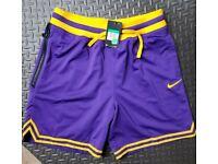 """Nike DNA Double Mesh 8/"""" Basketball Lebron Shorts Lakers Purple AO5656-547"""