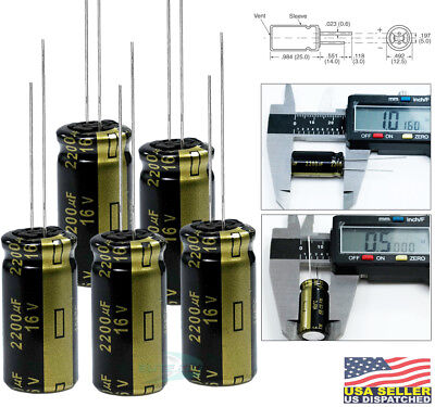 Panasonic Fm 2200uf 16v Radial Low-esr Aluminum Electrolytic Capacitor Pack 5