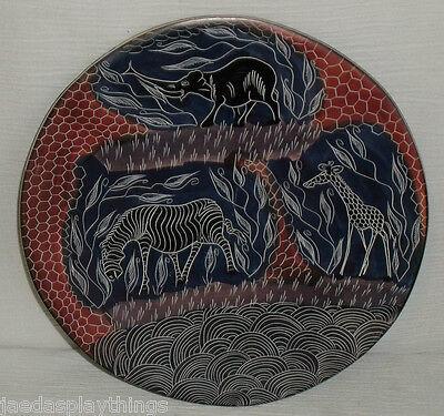 """Kenya Africa Plate Hand Painted 10"""" Elephant Giraffe Zebra 1998 Souvenir"""