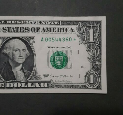 Low Serial 2017 1 Federal Reserve Replacement Star Note A 00544360  - $5.75