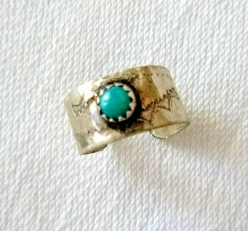 Vintage Navajo Sterling Silver Ear Cuff  Stamped Design Tiny Turquoise Cabochon