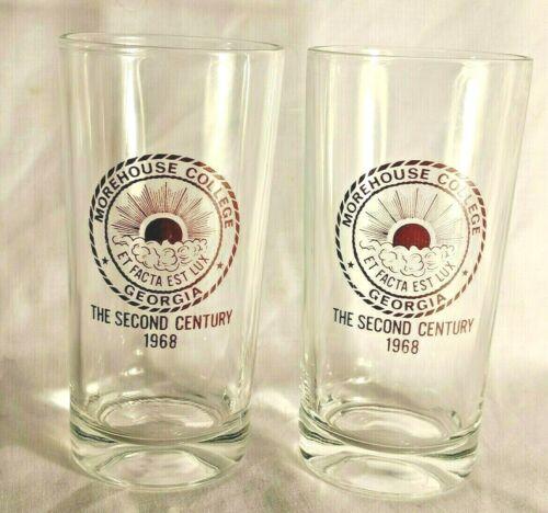 Vintage Morehouse College HBCU 1968 Atlanta 2 drinking glasses Maroon Rare Tiger