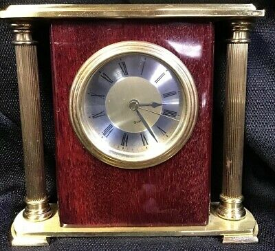 VINTAGE Quartz Rose Encore Bracket Clock Fluted Brass Finish preowned works