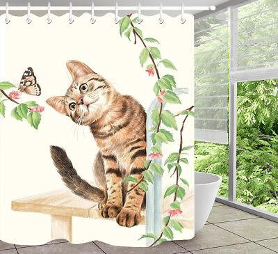 Flower Branch Cat Butterfly Shower Curtain Set Polyester Waterproof Fabric Hooks ()