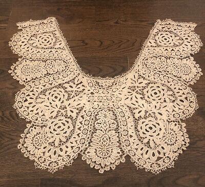 Antique Bobbin Lace Collar Ornate Floral  Dress Front  Vintage Lace  Handmade Lace
