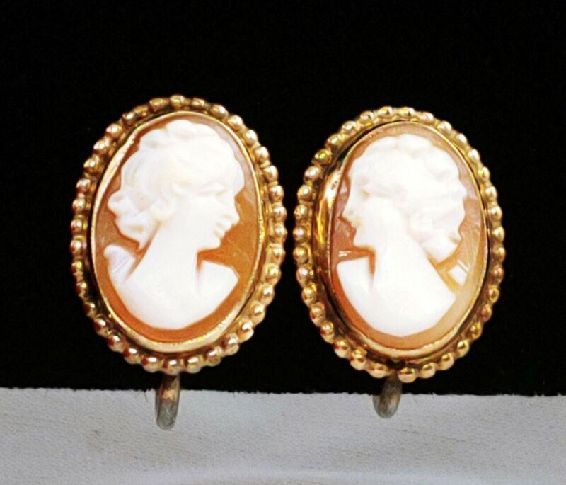 Vintage 14K Yellow GF Carved Portrait Cameo Earrings Amco Bezel Set Screw Back