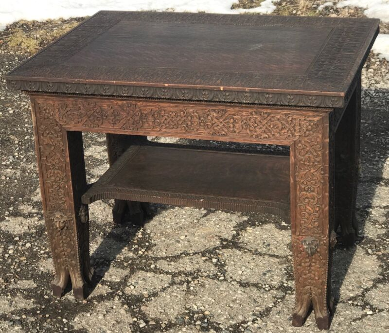 Antique Tiger Oak Figural 1890s Carved Maiden Gothic Library Table RJ Horner