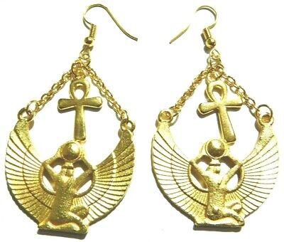 EGYPTIAN GODDESS ISIS EARRINGS winged Mother-God Egypt golden Ankh sun Africa 4C