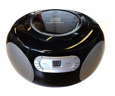 Black Portable CD Player AM/FM Radio Boombox