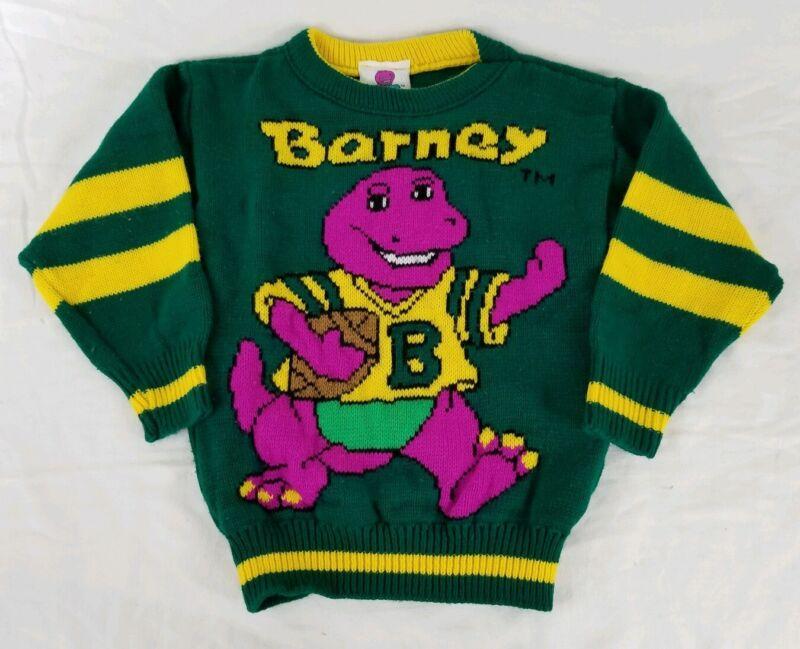 Vintage 1992 BARNEY Purple DINOSAUR Green Child Sweater Size 4T 5T Football Knit