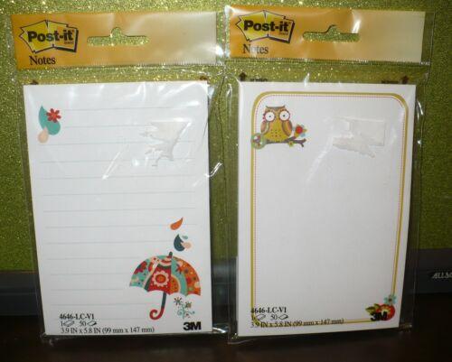 NEW ~ POST-IT NOTE PADS (set of 2)    Owls & Umbrells Designs