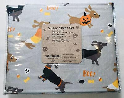 Halloween Hot Dog (Halloween DACHSHUND Wiener Hot Dog Doxie Berkshire QUEEN Bed Sheet Set 4 pcs)