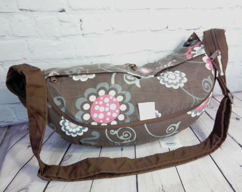 Travel Boppy Pillow Pink Brown Olivia Polka Dot Folds Zips Up Shoulder Strap