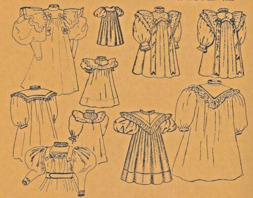 "15""ANTIQUE DOLL@1894 DRESS w/VARIATIONS PATTERN/FRENCH BRU/JUMEAU-GERMAN CHILD"