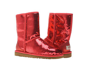 Ugg Australia Classic Short Sparkles Ruby Red Womens