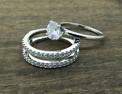 SHANE CO Engagement Ring and Double Row Diamond Wedding Band Set Diamond Double Circle Ring