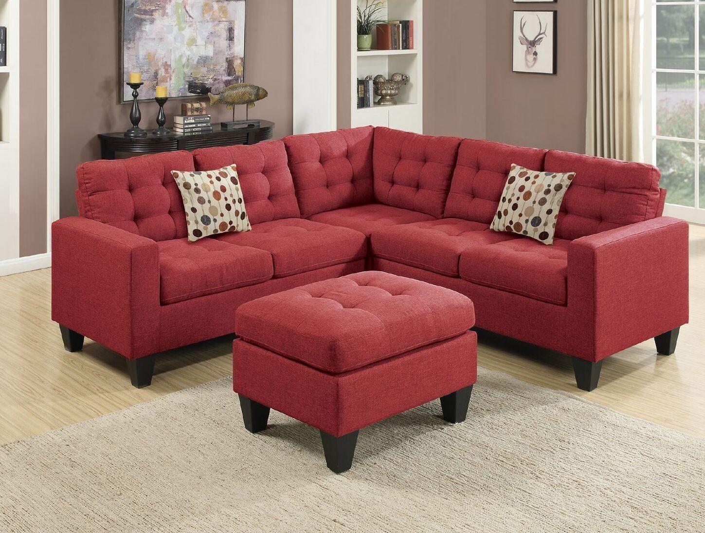 4pcs modern carmine polyfiber sectional sofa set