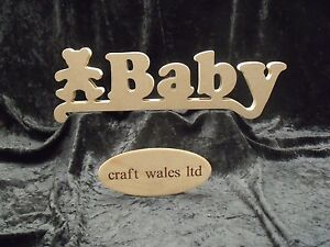 Wooden words baby with bear mdf sign plaque letters craft for Furniture 5 letters word whizzle