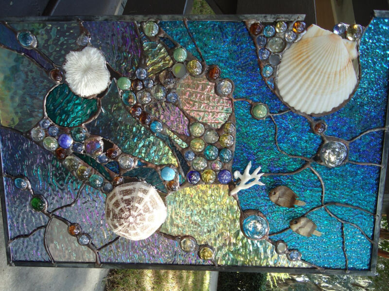 Stained Glass  Window Tropical Fish Sea Shell Sailboat Suncatcher Ocean Panel