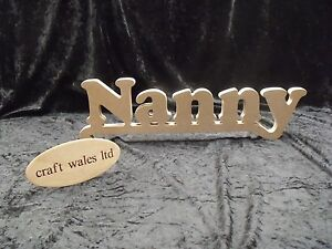 Wooden words mdf nanny sign plaque letters craft gift for Furniture 5 letters word whizzle