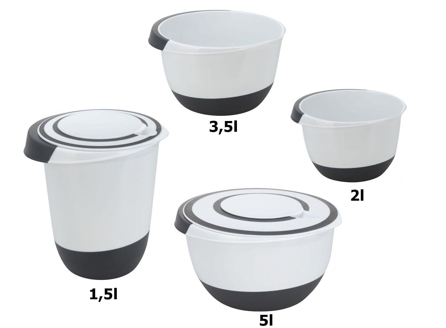 Rührschüssel Set 1,5 l, 3,5 & 2 L ,5 L Salat Teig Schüssel Quirltopf Stoppboden