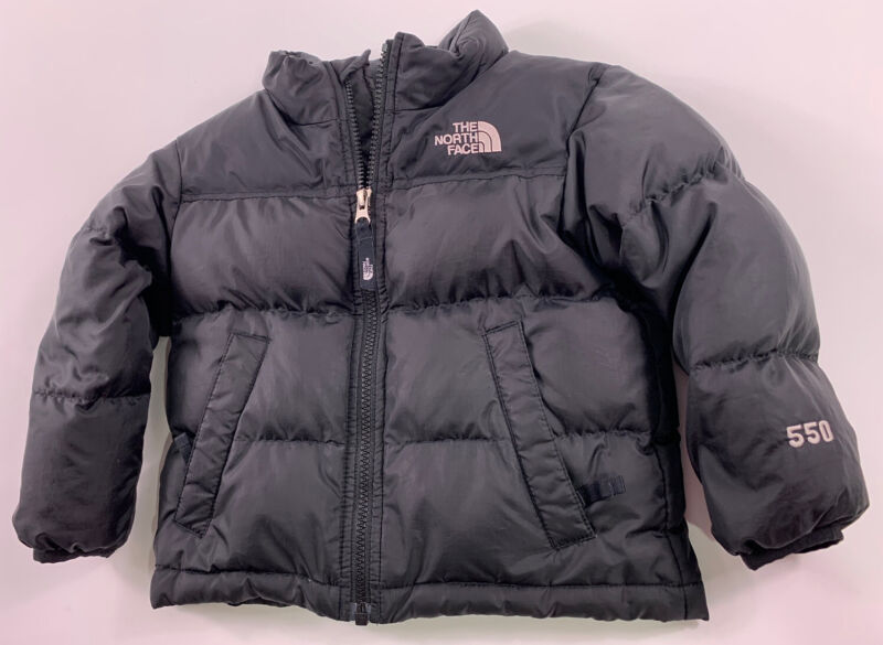 The North Face 550 fill Down Winter Puffer Coat Black Kids Boys Sz 3T EUC Jacket