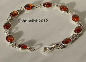 Lovely Baltic Amber Oval Bracelet on Silver 925