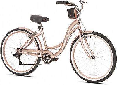 26 Womens Kent Bayside Cruiser Bike 7 Multi-Speed Ladies Rose-Gold Bicycle