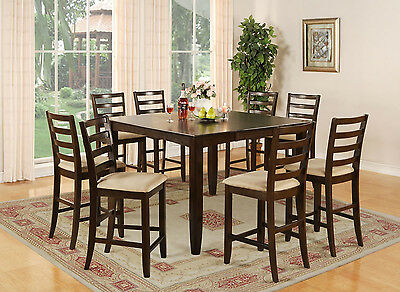 7PC DINETTE COUNTER HEIGHT SET TABLE & 6 MICROFIBER UPHOLSTERY CHAIRS CAPPUCCINO