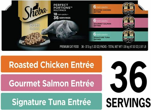 Sheba Perfect Portions Cuts in Gravy Wet Cat Food Tray Variety Packs 36 Servings