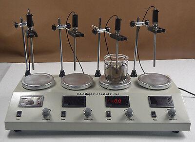 4 Head Muliti Unit Digital Thermostatic Magnetic Stirrer Hotplat Mixer 110v New