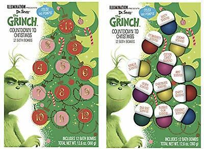 Dr Seuss THE GRINCH Countdown to Christmas 12 BATH BOMBS Relax & Pamper New