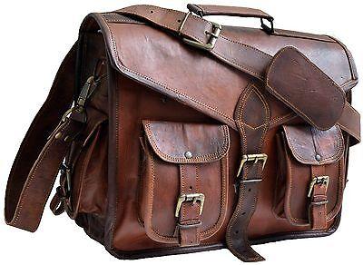 bag leather office men briefcase laptop messenger shoulder s business genuine me