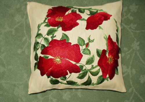 Antique Hand Embroidered ROYAL SOCIETY Red Poppies Pillow Cover