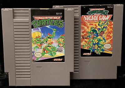 Vintage Teenage Mutant Ninja Turtles NES Game Carts TMNT 1 & 2 The Arcade Game