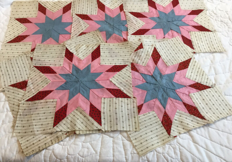 11 Antique Patchwork Quilt Blocks, Star, Early Calico Prints, Hand Pieced