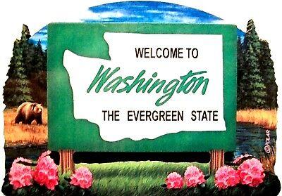 Washington State Welcome Sign Artwood Fridge Magnet