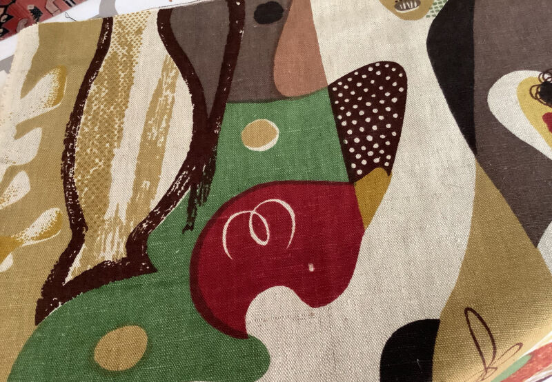 Vintage Mid Century Abstract Cotton Fabric Remnant Panel!