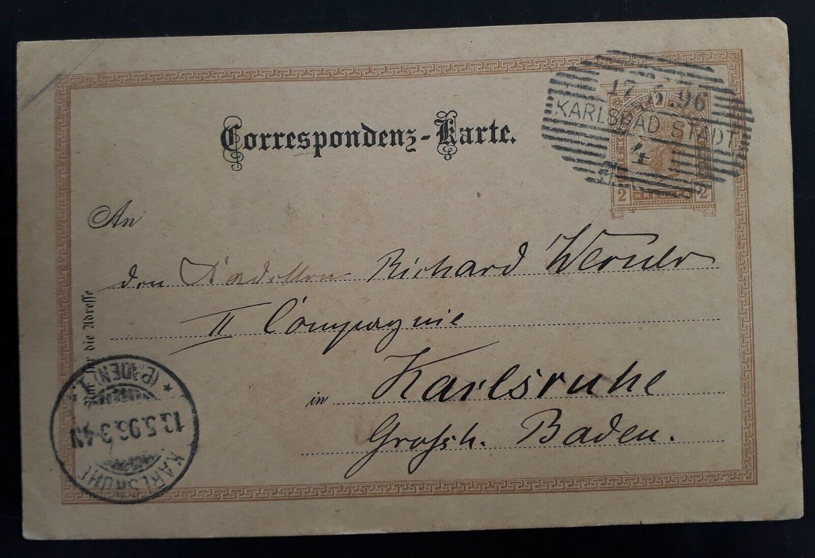 1896 Austria 2Kr brown Stamped Postcard cancelled Karlsbad to Karlsruhe