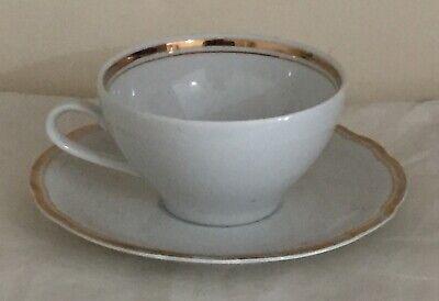 KAHLA GDR VINTAGE TEA CUP & SAUCER – White & Gold Trim – Fine China Excellent