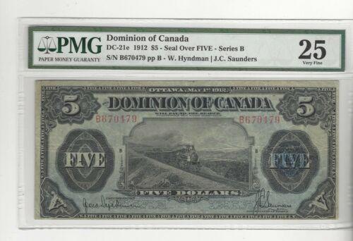 1912  Dominion of Canada DC-21e $5  SN# B670479  PMG VF-25