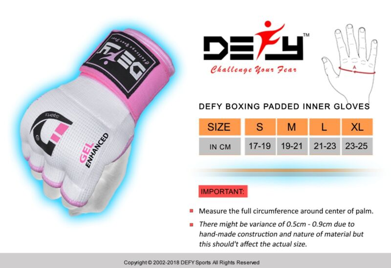 Gel Padded Inner Gloves with Hand Wraps MMA Muay Thai Boxing Bandage Fight Black