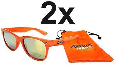 Aperol Spritz Sonnenbrille Nerd Party Wayfarer Brille in Holzoptik Orange - 2er