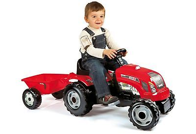 Smoby Tractor with Trailer Ride On - Red