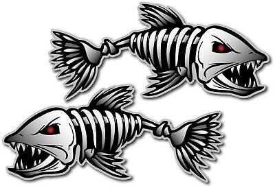 2X SKELETON FISH DECAL STICKER 3M USA MADE TRUCK VEHICLE WINDOW WALL CAR BOAT - Fish Skeleton