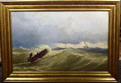 Original Bild Öl/Holz,HEEMSKERK VAN BEEST JACOB 19 Jhg. Schwere See gemälde