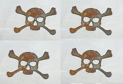 "Lot of 4 Skull and Crossbones 3"" Rusty Metal Vintage Stencil Ornament Craft Sign"