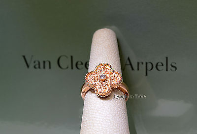Van Cleef Arpels NEW Alhambra Diamond Ring 18k Rose Gold 5.5 Box/Papers ARN9ZT51