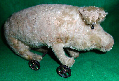 STEIFF (??) PULL TOY PIG on METAL WHEELS, EARLY 20th CENTURY, ADORABLE PRIMITIVE